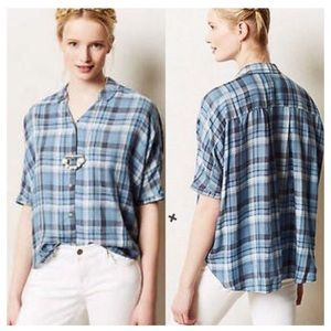 Anthro Holding Horses Hasley Dolman Plaid Top